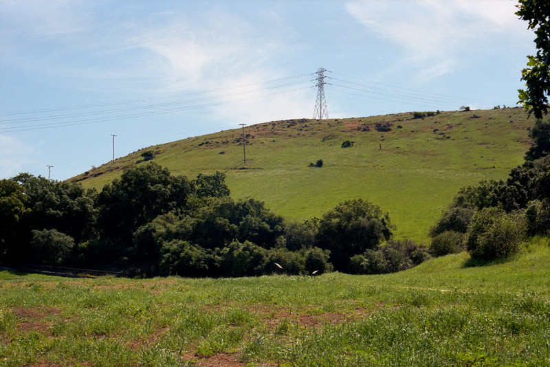 Hillside along a back road near Santa Teresa Boulevard dressed in bright winter green, under blue sky with clouds rising up behind the hill. Transmission tower doing its job stands proudly on the hilltop.